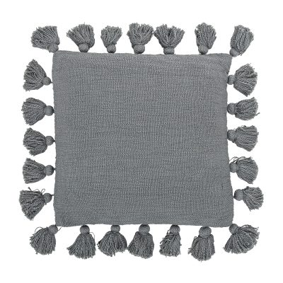 Tassels Cushion in Slate Grey