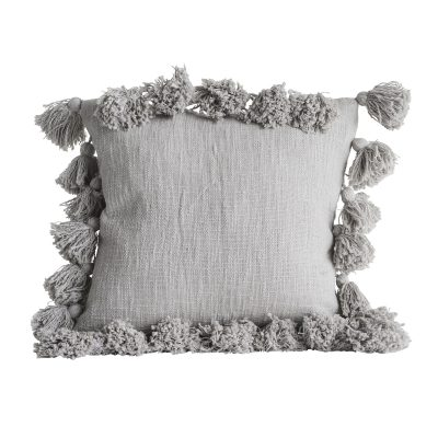 Tassels Cushion in Ash Grey