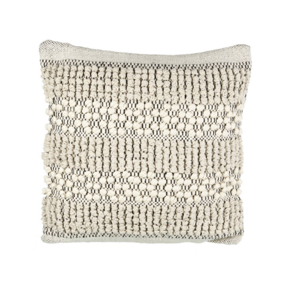 weaved bohemian cushion in ivory