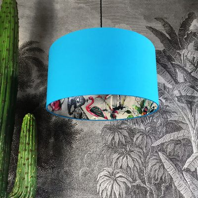Silver ChiMiracle Wallpaper Silhouette Lampshade in Topaz Blue