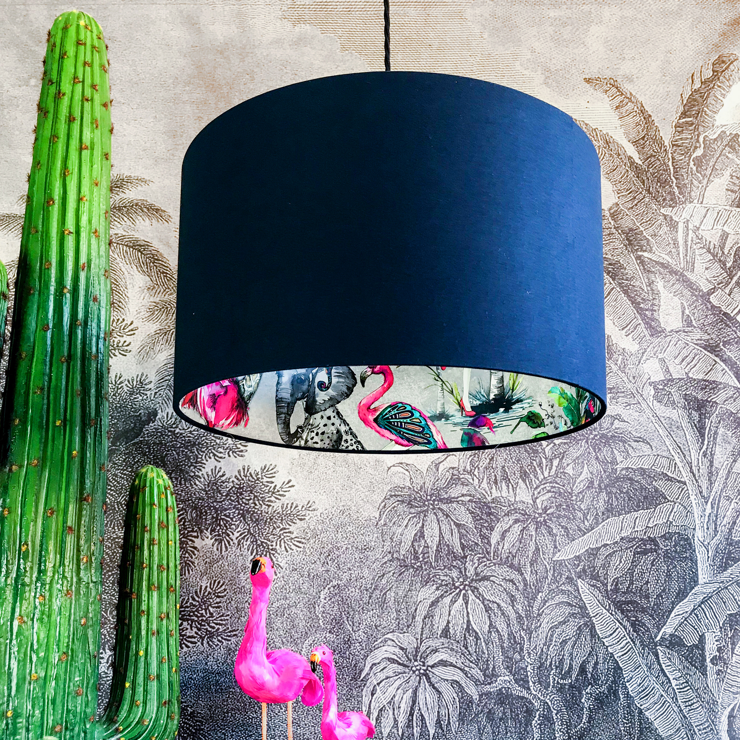 Silver ChiMiracle Wallpaper Silhouette Lampshade in Deep Space Navy