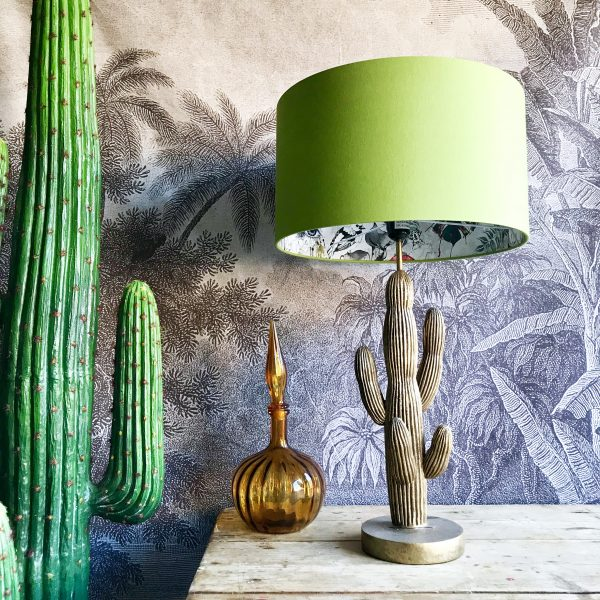 Furtiva Lagrima Wallpaper Silhouette Lampshade in Chartreuse green