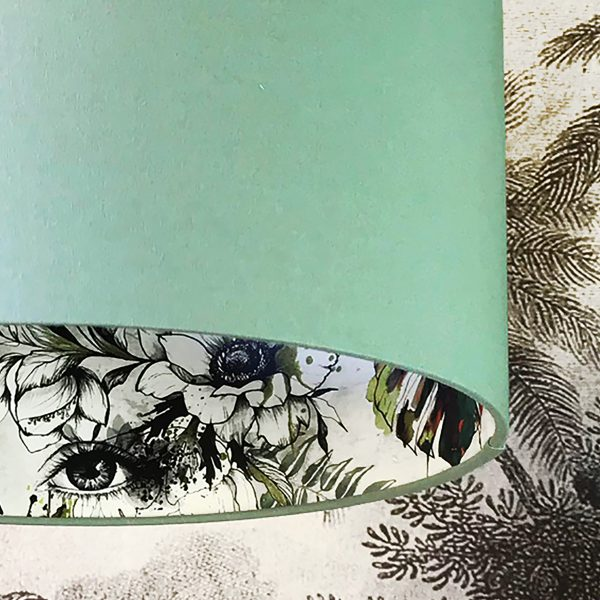 Furtiva Lagrima Wallpaper Silhouette Lampshade in Sage Green