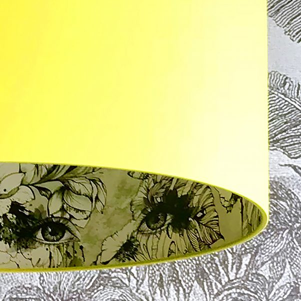 Furtiva Lagrima Wallpaper Silhouette Lampshade in Sunshine Yellow