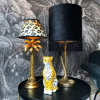 Wild Leopard Empire Lampshade and decadent palm tree table lamp in gold.