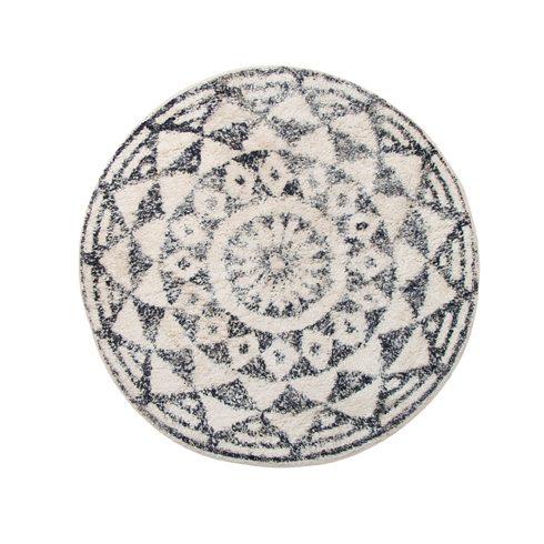 Black and White Bohemia Circular Rug