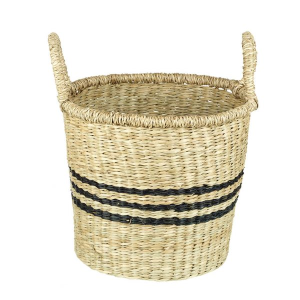 Small Natural & Black Seagrass Basket with Handles - Stripes