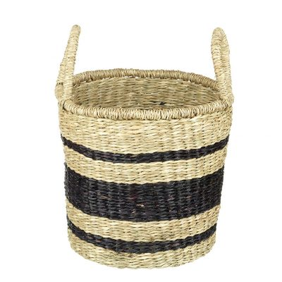 Small Natural & Black Seagrass Basket with Handles - Bands