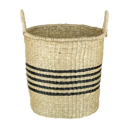 Seagrass Basket with handles and stripes - Large