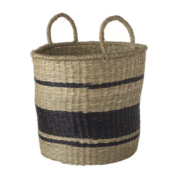 Seagrass Basket with handles with Bands - Large