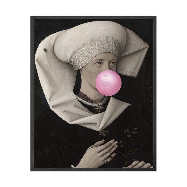 Bubblegum Portraits - 2 Framed Canvas Artwork Medium