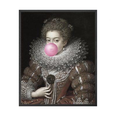 Bubblegum Portraits - 3 Framed Canvas Artwork Medium