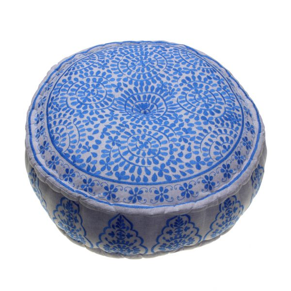 Nomad Embroidered Pouffe Blue