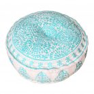 Nomad Embroidered Pouffe Turquoise