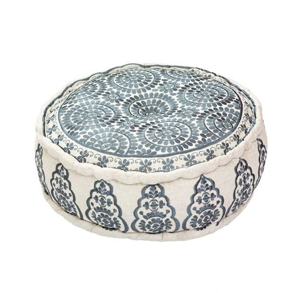 Nomad Embroidered Pouffe Grey