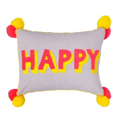 Neon Embroidered Happy Cushion with Pom Poms