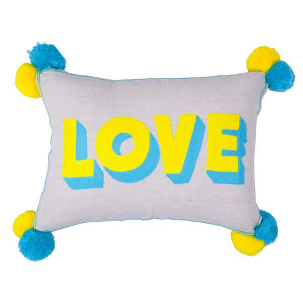 Neon Embroidered Love Cushion with Pom Poms