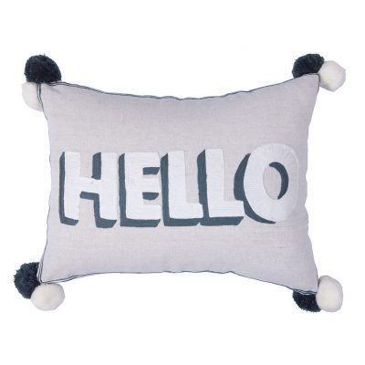 Monochrome Embroidered Hello Cushion with Pom Poms