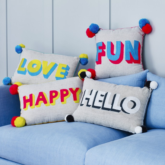 Our newest Collection of neon embroidered Pom Pom cushions