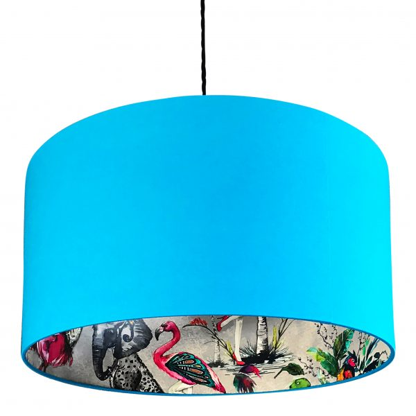 Midnight ChiMiracle Wallpaper Silhouette Lampshade in Topaz Blue