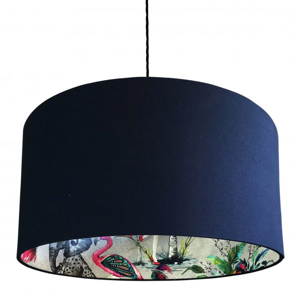 Midnight ChiMiracle Wallpaper Silhouette Lampshade in Deep Space Blue