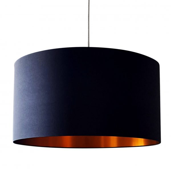 Jet Black Cotton Lampshade With Brushed Copper Lining