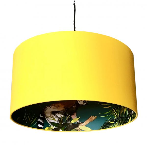 teal lemur wallpaper lampshade in egg yolk Cut out