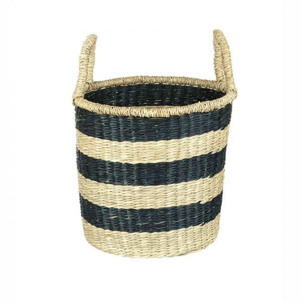Small Natural & Black Seagrass Basket with Handles - Hoops