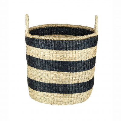 Large Natural & Black Seagrass Basket with Handles - Hoops