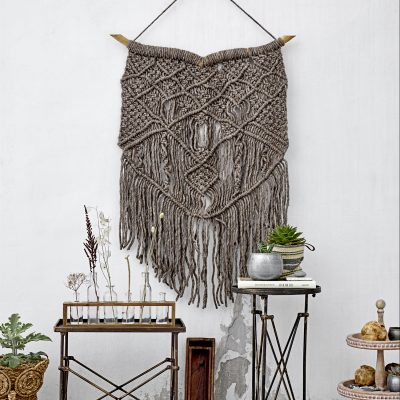 Oversized Grey Macrame Wall Hanging