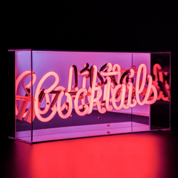 Cocktails neon light box in red