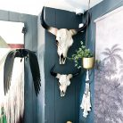 Wall mounted decorative Faux Bison Heads