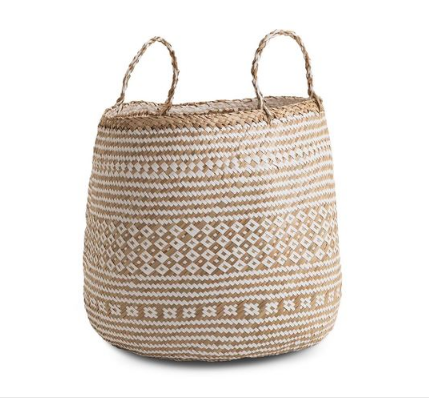 Large Barrel Natural and White Seagrass Basket
