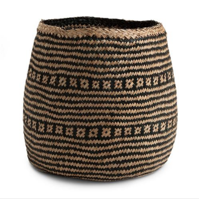 Medium Wide Base Natural Black Seagrass Basket