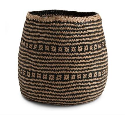Medium Wide Base Natural Black Seagrass Basket