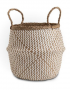 Small Natural and White Seagrass Belly Basket
