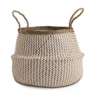 Medium Natural and White Seagrass Belly Basket