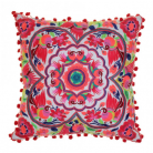 Bright Bohemian Folksy Cushion in Coral