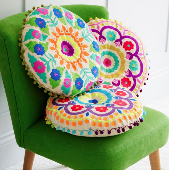 Bright Bohemian Folksy Cushion