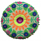 Bright Bohemian Folksy Cushion in Green
