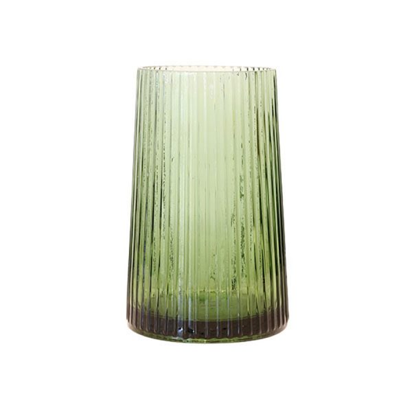 ribbed green glass vase