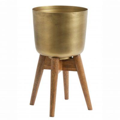 Medium Mango wood and brass planter on stand