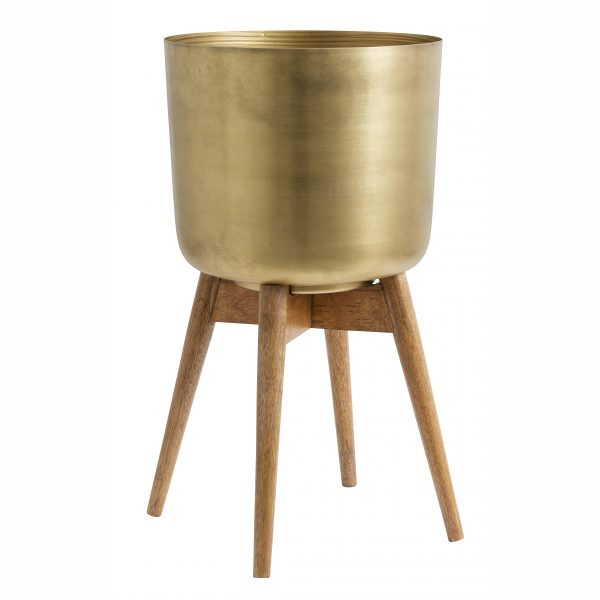 Large Mango wood and brass planter on stand
