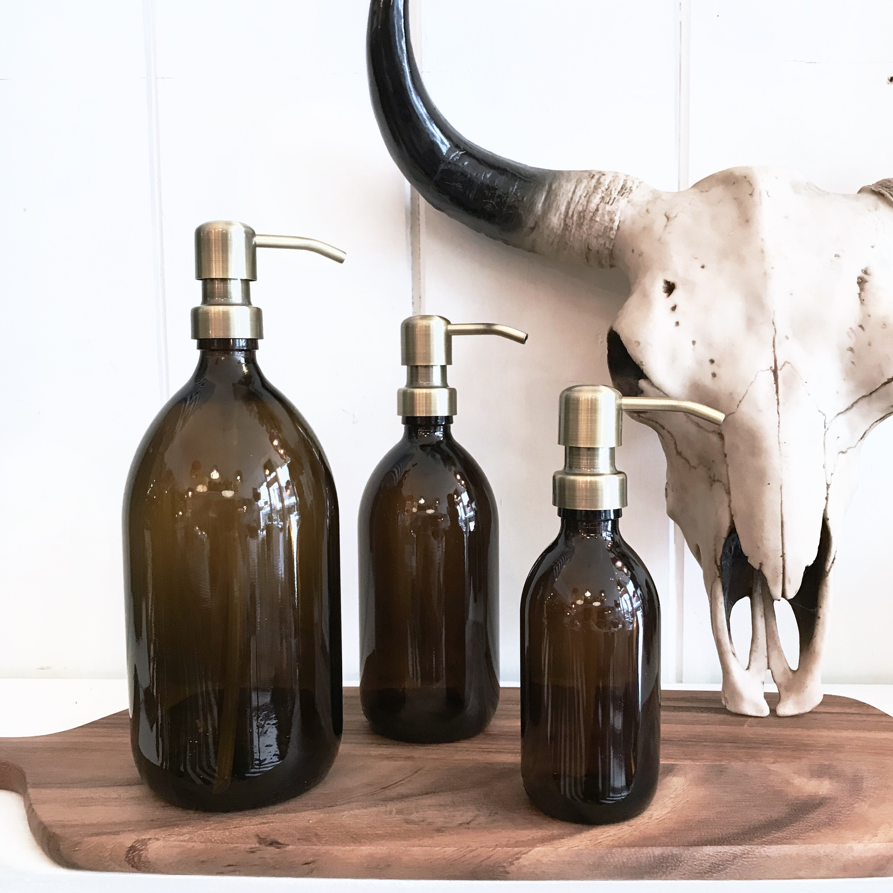 Amber Gl Soap Dispensers With Gold Pump
