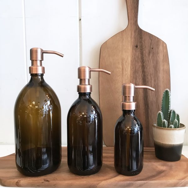 Amber Glass Soap Dispensers with Bronze Pump