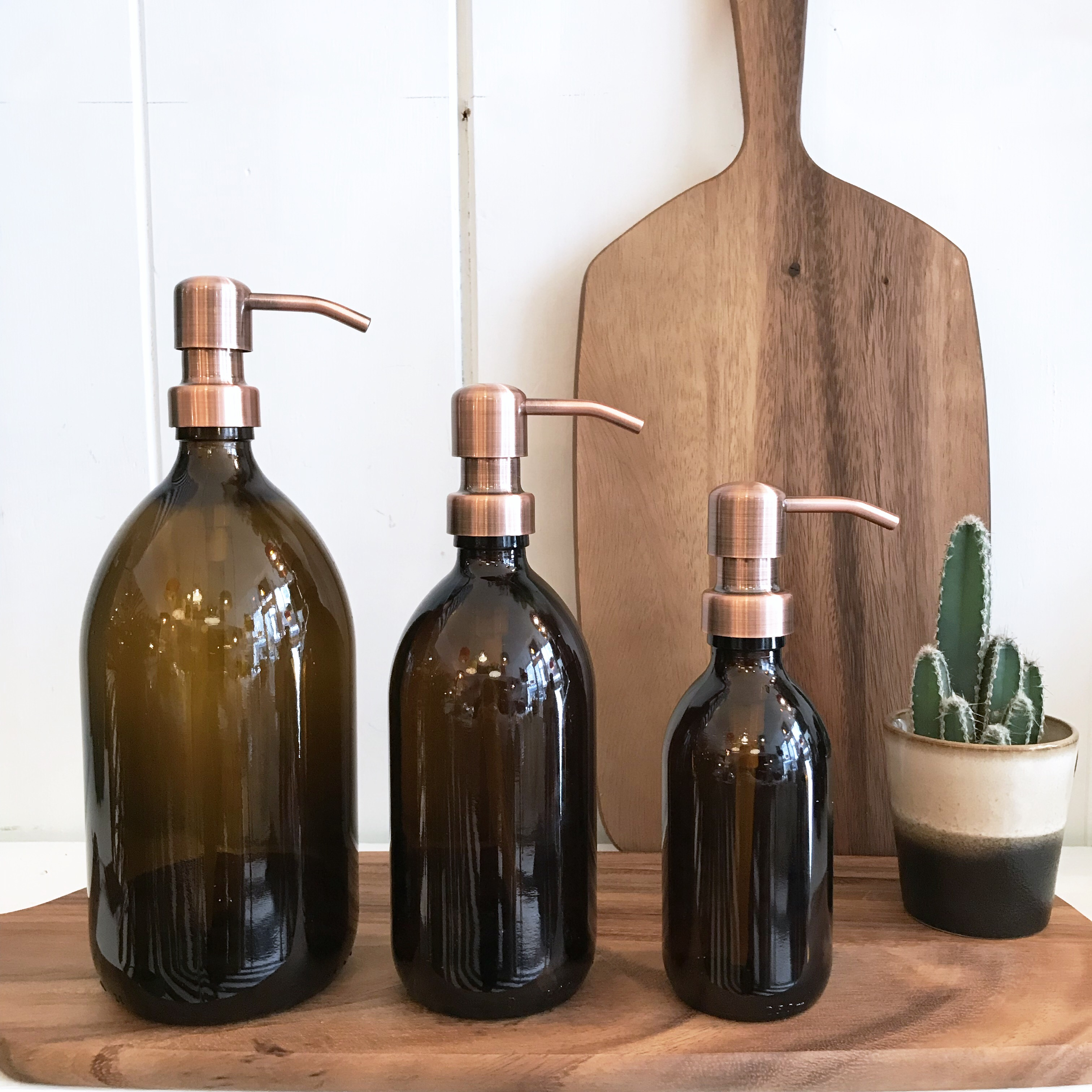 Amber Glass Soap Dispensers With Copper Pump Love Frankie
