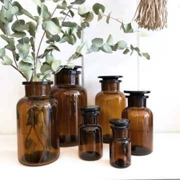 Amber Glass Apothecary Jars - 5 Sizes available