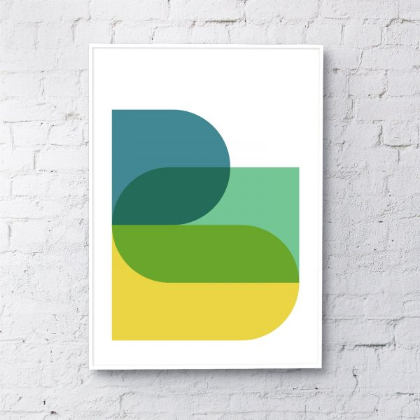 Shapes Art Print in Blue, Green & Yellow