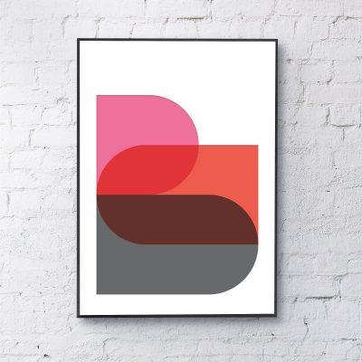 Shapes Art Print in Pink Red & Grey