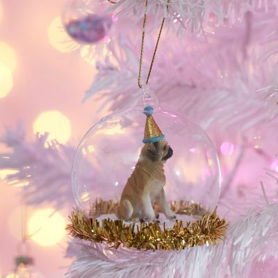Party Pug Christmas Bauble decoration